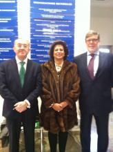 Félix Colsa acompañado de la Presidenta de la Cámara de Marruecos en España y del Presidente de CECALE